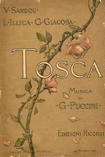 Front cover of the original 1899 libretto Tosca libretto cover.jpg