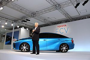 Hydrogen vehicle wikipedia the 2015 toyota mirai is one of the first hydrogen fuel cell vehicles to be sold commercially the mirai is based on the toyota fcv concept car shown fandeluxe Images