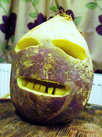 Allantide - Traditional Cornish jack-o'-lantern made from a turnip.