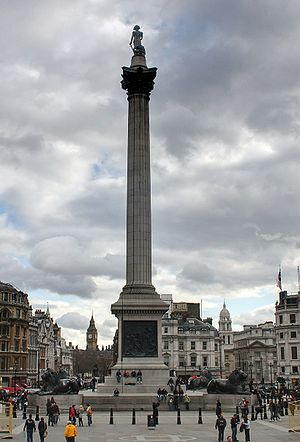 Nelson's Column - The column looking south towards Whitehall and the Palace of Westminster