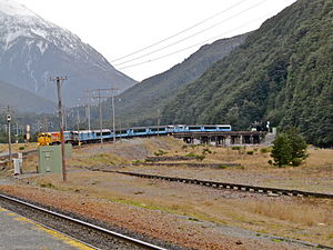 Otira Tunnel - TranzAlpine and Otira Tunnel from Arthurs's Pass station.