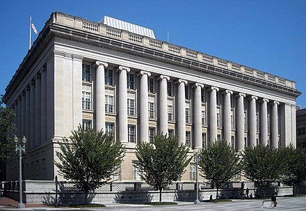 The Office of Foreign Assets Control and the main branch of the Treasury Department Federal Credit Union are located in the Freedman's Bank Building in Washington, D.C. Treasury Annex.JPG