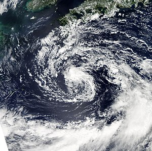 Typhoon Roke (2011) - Tropical Storm Roke with an exposed LLCC on September 15