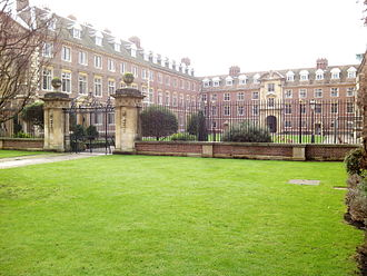 Trumpington Street - St Catharine's College viewed from Trumpington Street, showing the open court.