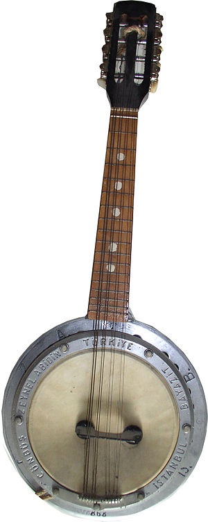 Cümbüş - Mando-cümbüş, a Turkish banjo in the style of a mandolin. On this instrument the name is spelled Cünbüş instead of Cümbüş.