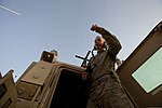 U.S. Army Pfc. Chase Wilcox, an electrician with the 307th Engineer Battalion, gives a thumbs-up before a patrol at Camp Leatherneck, Helmand province, Afghanistan, June 23, 2013 130623-M-RF397-014.jpg