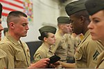 U.S. Marine Corps Lance Cpl. Tucker Wolf, left, is inspected by Cpl. Larry China, second from right, both with the command element of the 24th Marine Expeditionary Unit, during the Warrior of the Month event 120501-M-RO494-154.jpg