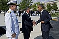 U.S. Navy Adm. Mike Mullen, chairman of the Joint Chiefs of Staff and Defense Secretary Leon E. Panetta greet President Barack Obama prior to a wreath laying ceremony.jpg