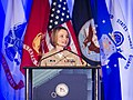 U.S. Navy Lt. Cmdr. Rosie Goscinski, president of the Sea Service Leadership Association, speaks at the 2013 Joint Women's Leadership Symposium at the Gaylord National Resort and Convention Center in National 130606-D-HU462-043.jpg