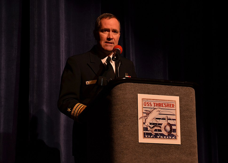 U.S. Navy Vice Adm. Michael J. Connor, the commander of Submarine Forces, speaks April 6, 2013, in Portsmouth, N.H., at a memorial service to honor the 129 crew members who died on the attack submarine USS 130406-N-TN558-087