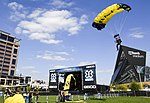 U.S. Navy parachute lands in Elliot Park during a skydiving demonstration at the Summer X Games. (35174459943).jpg