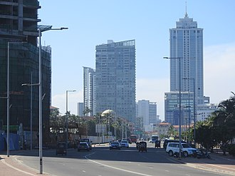 A2 highway (Sri Lanka) - Segment of the A2 Highway between Galle Face Green (right) and One Galle Face (left), with the Grand Hyatt Colombo in the background.