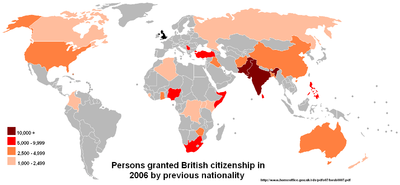 Acquisition of British citizenship by previous nationality, 2006.Source:Home Office