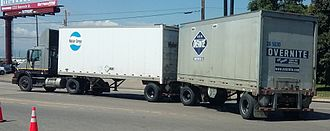 UPS Freight - UPS Freight truck with Motor Cargo and Overnite trailers in 2016.