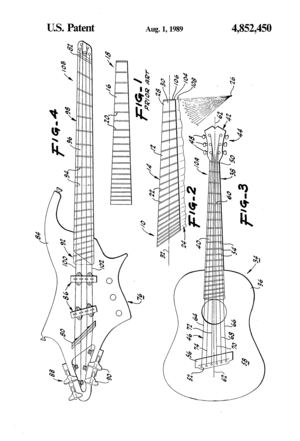 Multi-scale fingerboard - Image: US4852450 Ralph Novak (1988 06 30) Fingerboard for a stringed instrument drawing 1