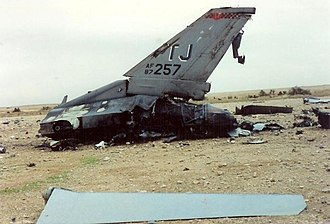 Package Q Strike - Remains of F-16C 87-0257 as found by U.S. Marines in Iraq during Desert Storm. The canopy was recovered by U.S. forces in the 2003 invasion.