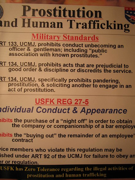 Warning of Prostitution and Human trafficking in South Korea for G.I. by United States Forces Korea. USFK Prostitution Warning.jpg