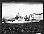 USS ASTORIA at anchor in Farm Cove, Sydney (8569503429).jpg