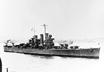 USS Helena (CL-50) at a South Pacific base, circa in 1943 (NH 95814).jpg