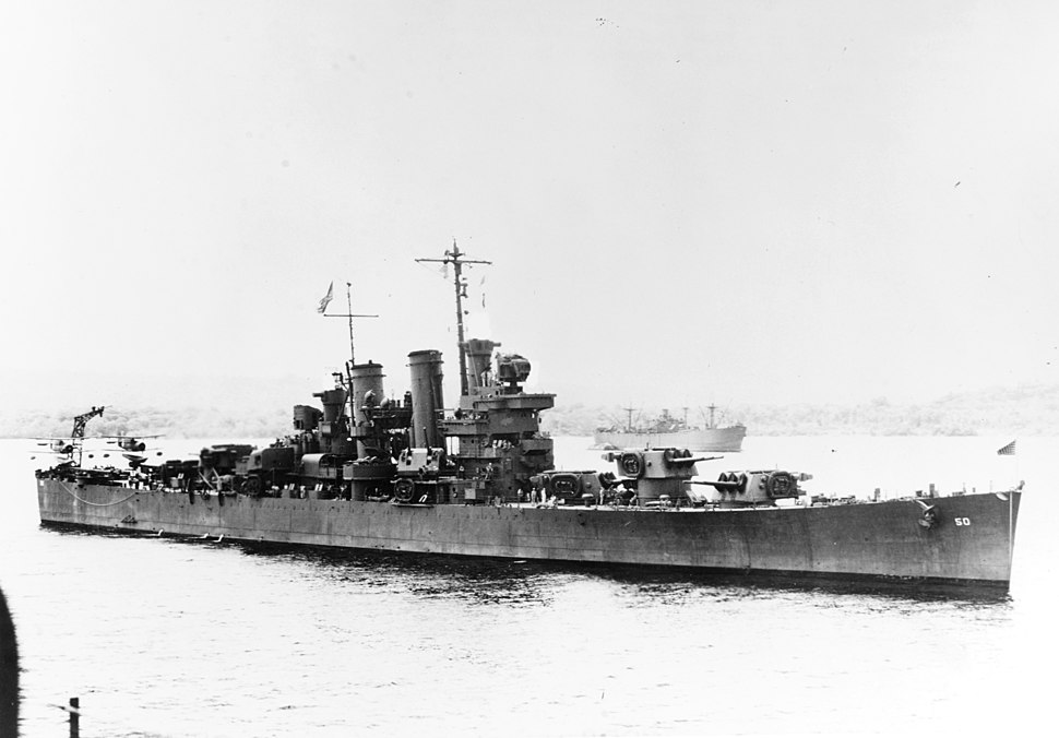 USS Helena (CL-50) at a South Pacific base, circa in 1943 (NH 95814)