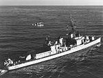 USS Hugh Purvis (DD-709) with a QH-50C DASH drone flying alongside on 15 December 1962.jpg