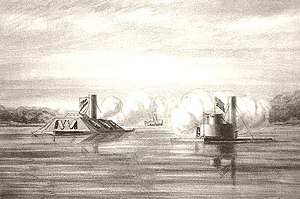 USS Atlanta (1861) - A drawing of USS Weehawken capturing Atlanta, 17 June 1863