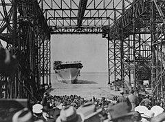 USS Yorktown (CV-5) just after launching, 4 April 1936.jpg