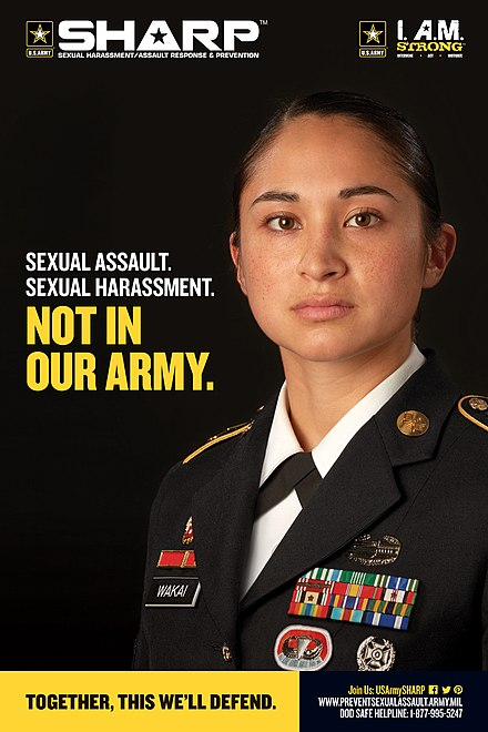 Poster created by the U.S. Army's Sexual Harassment/Assault Response & Prevention (SHARP) US Army SHARP Sexual Harassment and Sexual Assault Prevention Poster.jpg