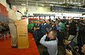 US Navy 030117-N-2383B-525 Admiral Vern Clark, Chief of Naval Operations (CNO), speaks to Sailors and Marines during an all hands call inside the Constellation's hangar bay.jpg