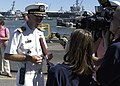 US Navy 050825-N-0938S-002 Commanding Officer, USS Saipan (LHA 2), Capt. Richard Fitzpatrick, speaks to the local media upon arrival to Naval Station Norfolk.jpg