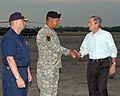 US Navy 051010-N-9274T-012 President George W. Bush greets Commander, Joint Task Force Katrina, U.S. Army Lt. Gen. Russel Honore, and Director of FEMA Relief Efforts, U.S. Coast Guard Vice Adm. Thad W. Allen.jpg