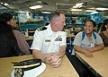 US Navy 061101-N-0879R-005 On the mess decks of the Pearl Harbor-based guided-missile destroyer USS Hopper (DDG 70), students from Aiea High School learn about the ship and the Navy's mission.jpg
