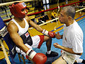 US Navy 081012-N-5345W-033 Dave Cruz, right, an assistant coach with 757 Boxing Club in Virginia Beach, Va., gives his fighter pointers between rounds during a sparring session at the All-Navy Boxing Team mini-camp at Rockwell.jpg