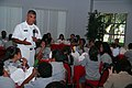 US Navy 081023-M-1529O-008 Master Chief Petty Officer of the Navy Joe Campa Jr. talks to young students of the Mexican American Engineers and Scientist (MAES) about the benefits of joining the United States Navy.jpg
