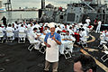 US Navy 110430-N-PS473-027 Art Ginsburg serves breakfast to Sailors aboard USS Ross (DDG 71) during Fleet Week Port Everglades for a taping of a Sa.jpg