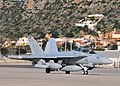 US Navy 111220-N-MO201-140 An EA-18G Growler aircraft taxis for departure following a transient stop on Crete.jpg