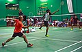 US Senior International Badminton Tourney (Miami) - MD 35 - Anil & Sylvain def Andy & Andre 13 & 10 - is this ballet or is someone trying to hit the shuttle?? (16463537729).jpg