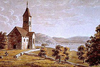 Ufenau - Ufenau and upper Lake Zurich, Lützelau, Rapperswil and its wooden bridge to Hurden in the background (1829)