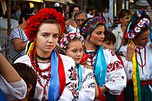Ukrainian girls wearing vyshyvankas at the Independence Day celebration.jpg
