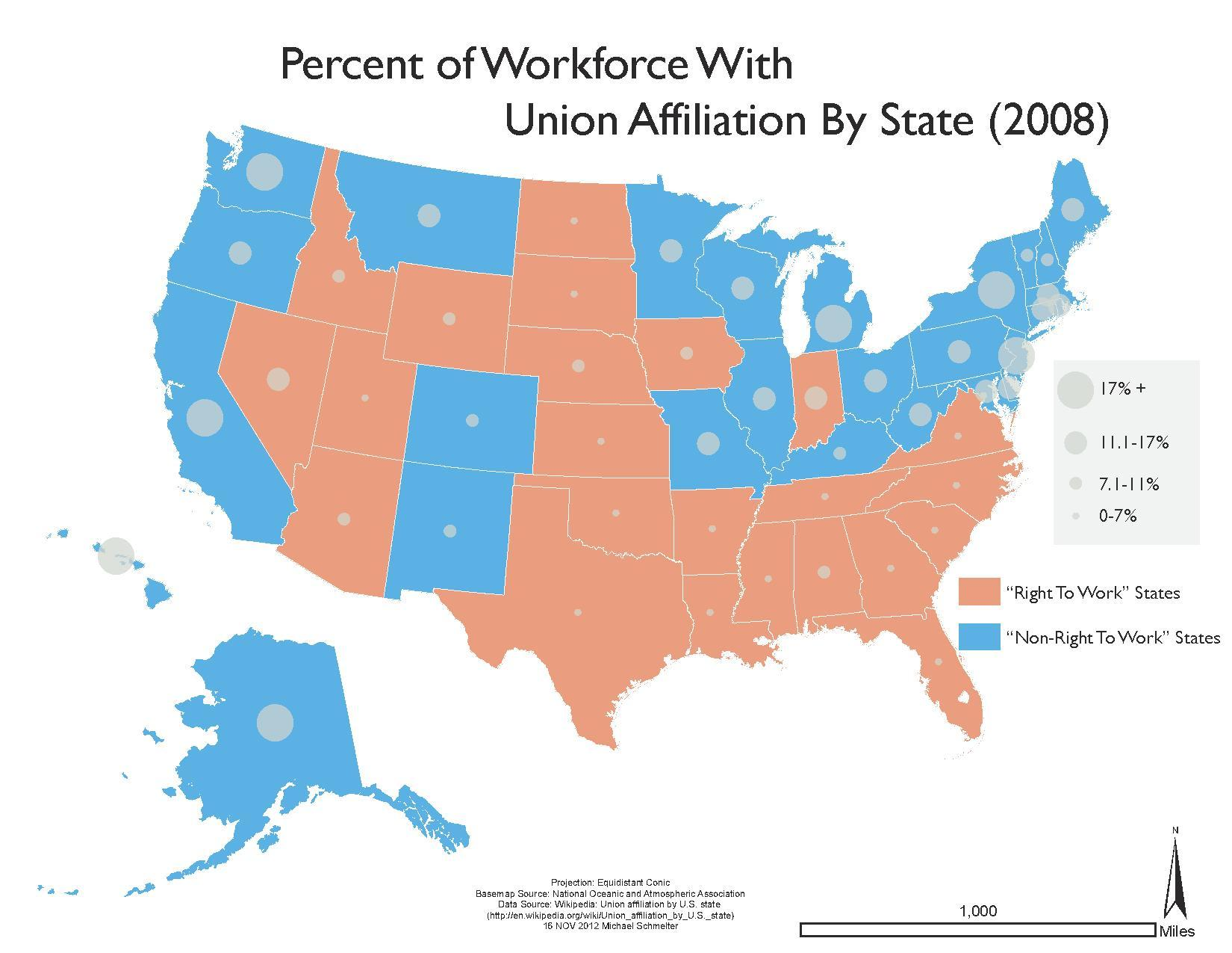 Right To Work States Vs Union States Map.File Union Affiliation By State Vs Right To Work Pdf Wikimedia