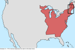 Map of the change to the international disputes involving the United States in central North America on October 21, 1778