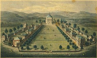 The Lawn - 1856 engraving of the Lawn, looking north