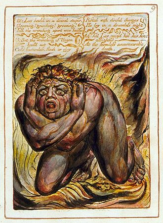 "The Book of Urizen - Copy G, plate 9.   ""Los howld in a dismal stupor,  Groaning! gnashing! groaning!  Till the wrenching apart was healed  But the wrenching of Urizen heal'd not..."""
