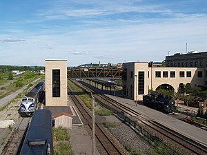 Union Station (Utica, New York) - The rear of Union Station with an Adirondack Scenic Railroad train approaching