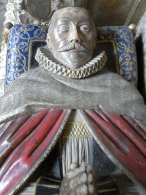 Valentine Cary - Effigy of Bishop Valentine Cary, detail from his monument in Exeter Cathedral