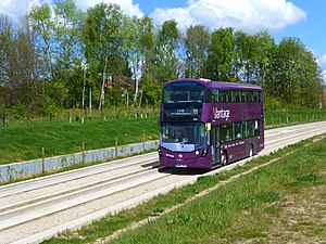 Leigh-Salford-Manchester Bus Rapid Transit - Vantage bus on the guided busway