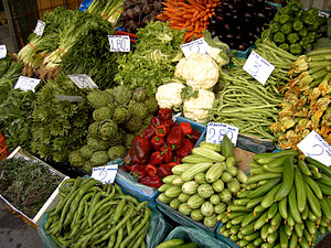 English: Vegetable market in Heraklion, Crete....