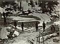 Verkehrsknotenpunkt Kranjska Gora (Kronau), Bau einer Brücke auf dem Weg zur Rimlhütte auf der Straße von Kranjska Gora (Kronau) nach Mojstrovka 1915.jpg
