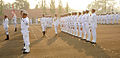 Vice Admiral Satish Soni reviewing the Guard of Honour during the 2015 Republic Day Parade at ENC.JPG