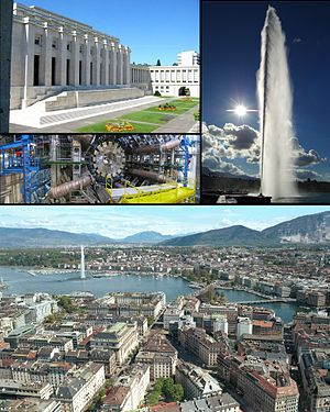 Geneva - Top left: Palace of Nations, Middle left: ATLAS experiment at CERN, Right: Jet d'Eau, Bottom: View over Geneva and the lake.